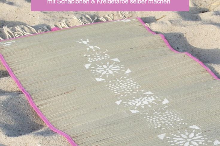 DIY Boho Strandmatte mit Kreidefarbe und Schablonen selber machen - www.chaosmitstil.de