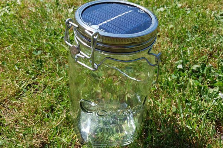 Sonnenglas; LED-Licht auf grünem Gras
